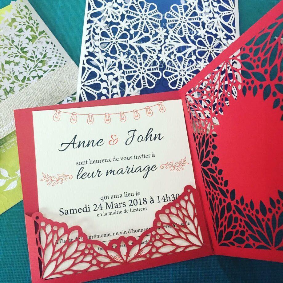 faire part rouge pour mariage