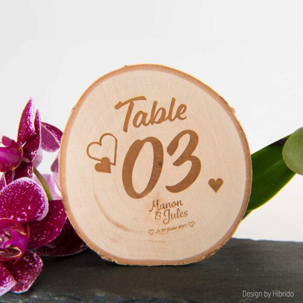 numerotation table bois