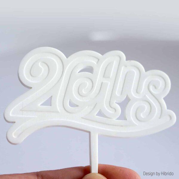 cake topper anniversaire 20 ans