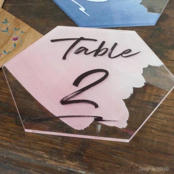 Numéros de tables en plexiglas rose