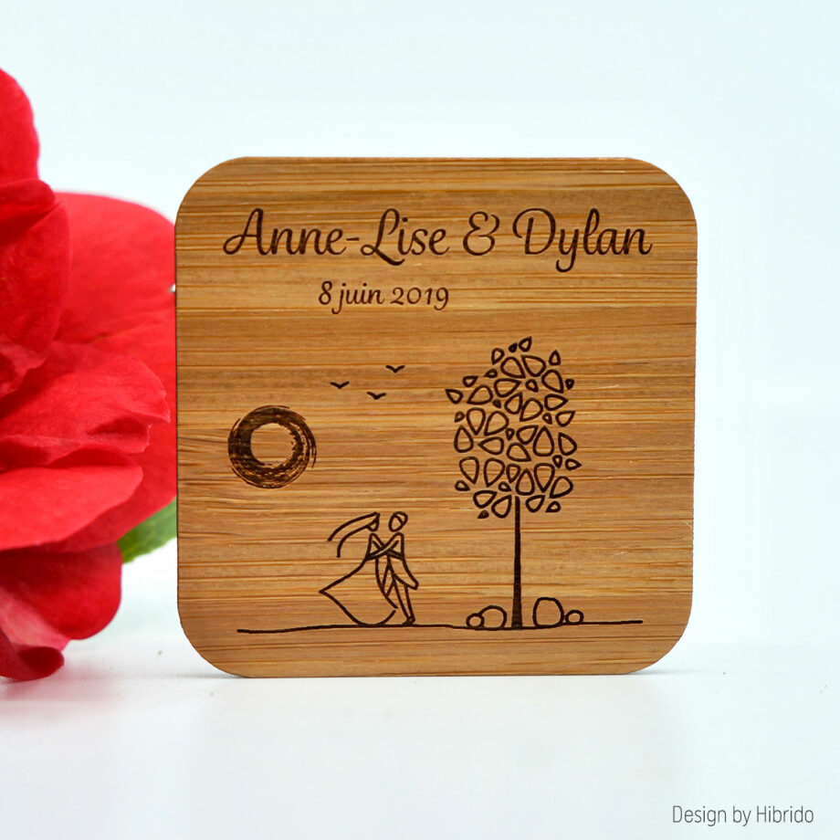 Magnet pour mariage bamboo