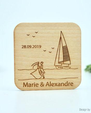 Magnet en bois - mariage au bord de mer.