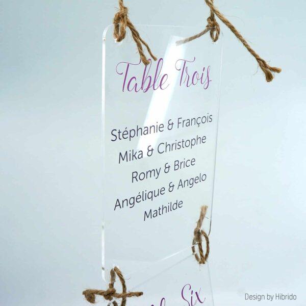 Plan de table de mariage en acrylique