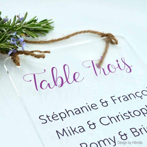 Plan de table de mariage en plexiglas