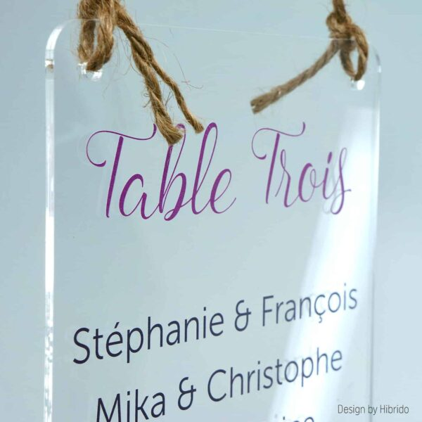 Plan de table de mariage transparent