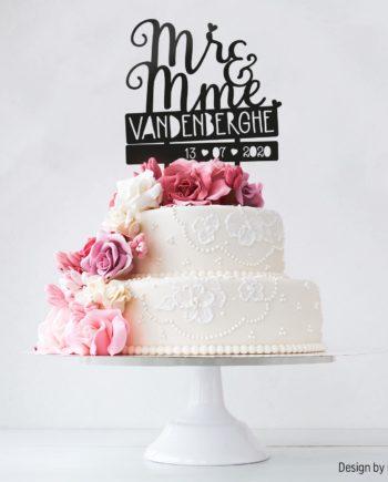 Cake topper mariage personnalisé Mr & Mme