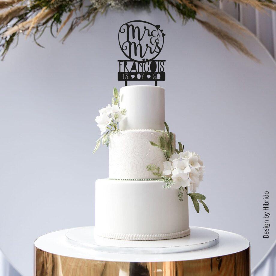 Cake topper Mr & Mrs noir