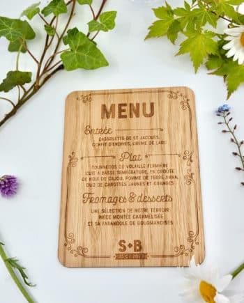 menu style anglais romantique