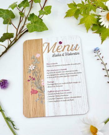 menu en bois mariage champêtre
