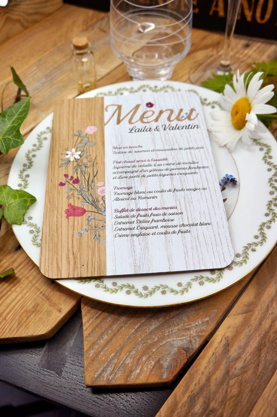 menu bois champêtre mise en situation