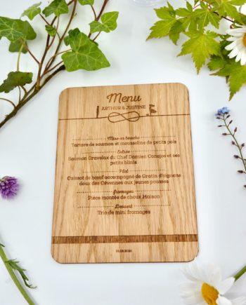 menu en bois thème infini