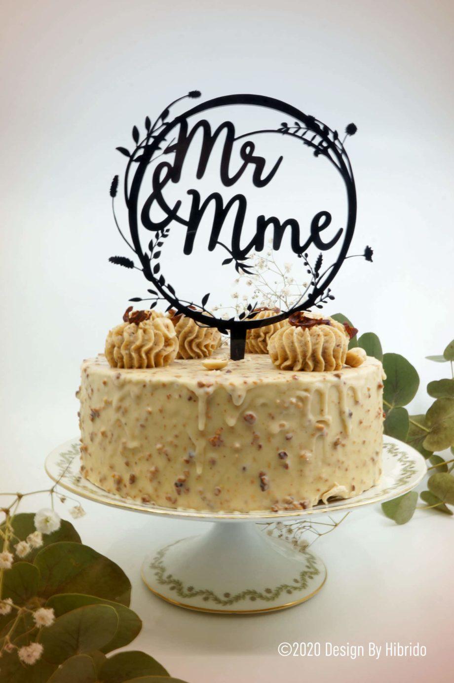 Topper gâteau couronne florale