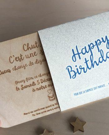 Invitation anniversaire fourreau bleu