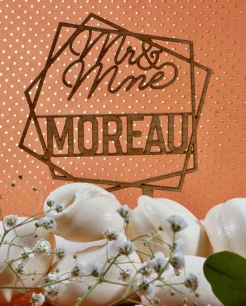 cake topper en bois hexagone