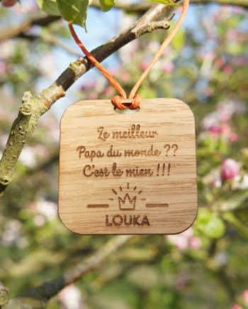 Étiquette en bois personnalisé pour cadeau de papa