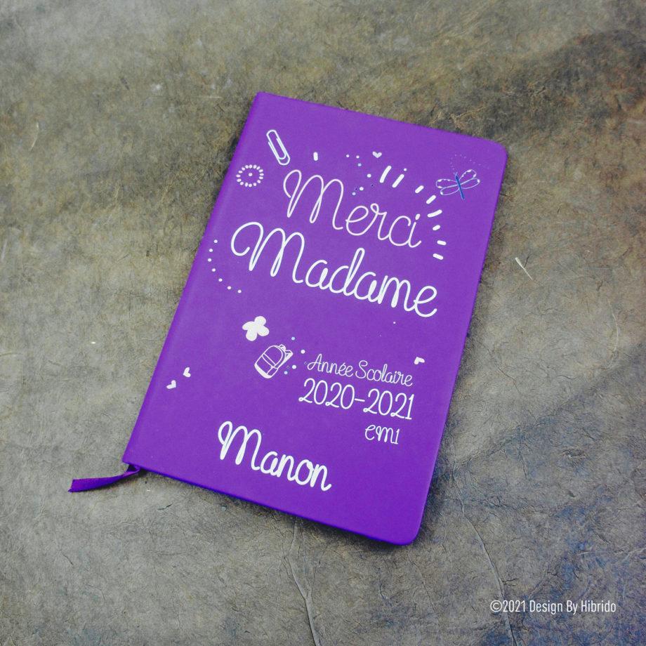 Carnet A5 Violet Merci Madame
