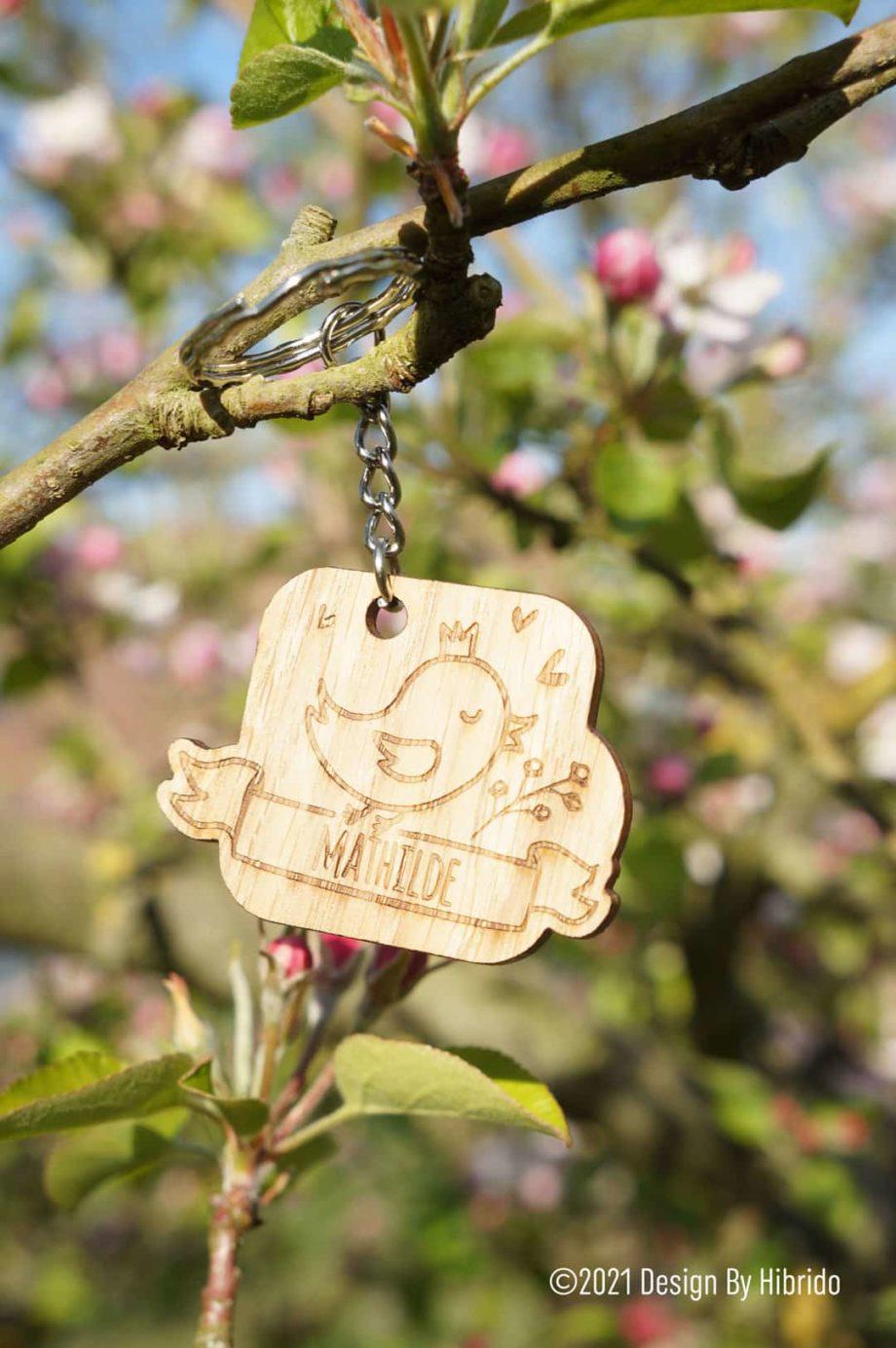 porte clef poussin en bois