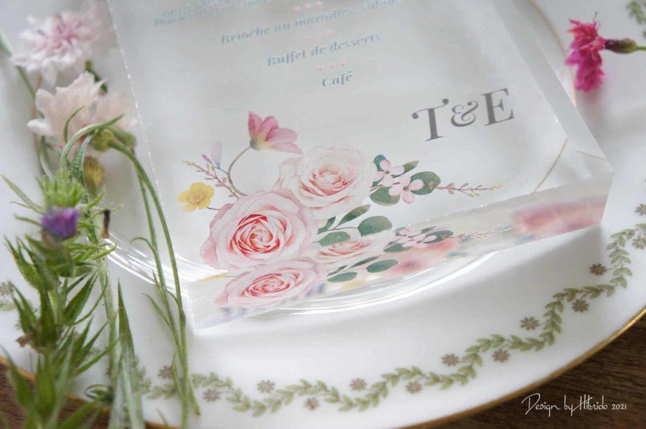 Menu mariage fleurs & transparence