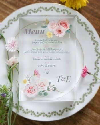menu transparent mariage