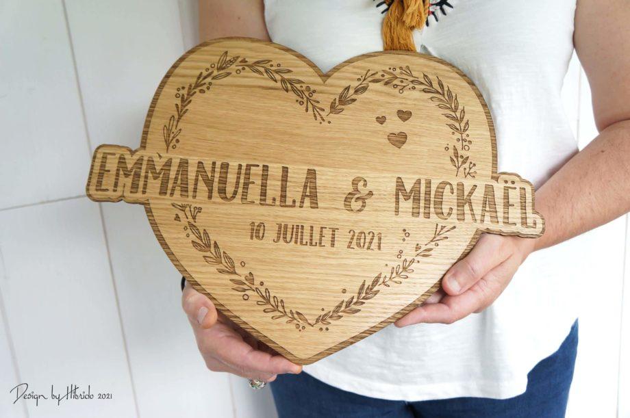 pancarte en bois mariage coeur