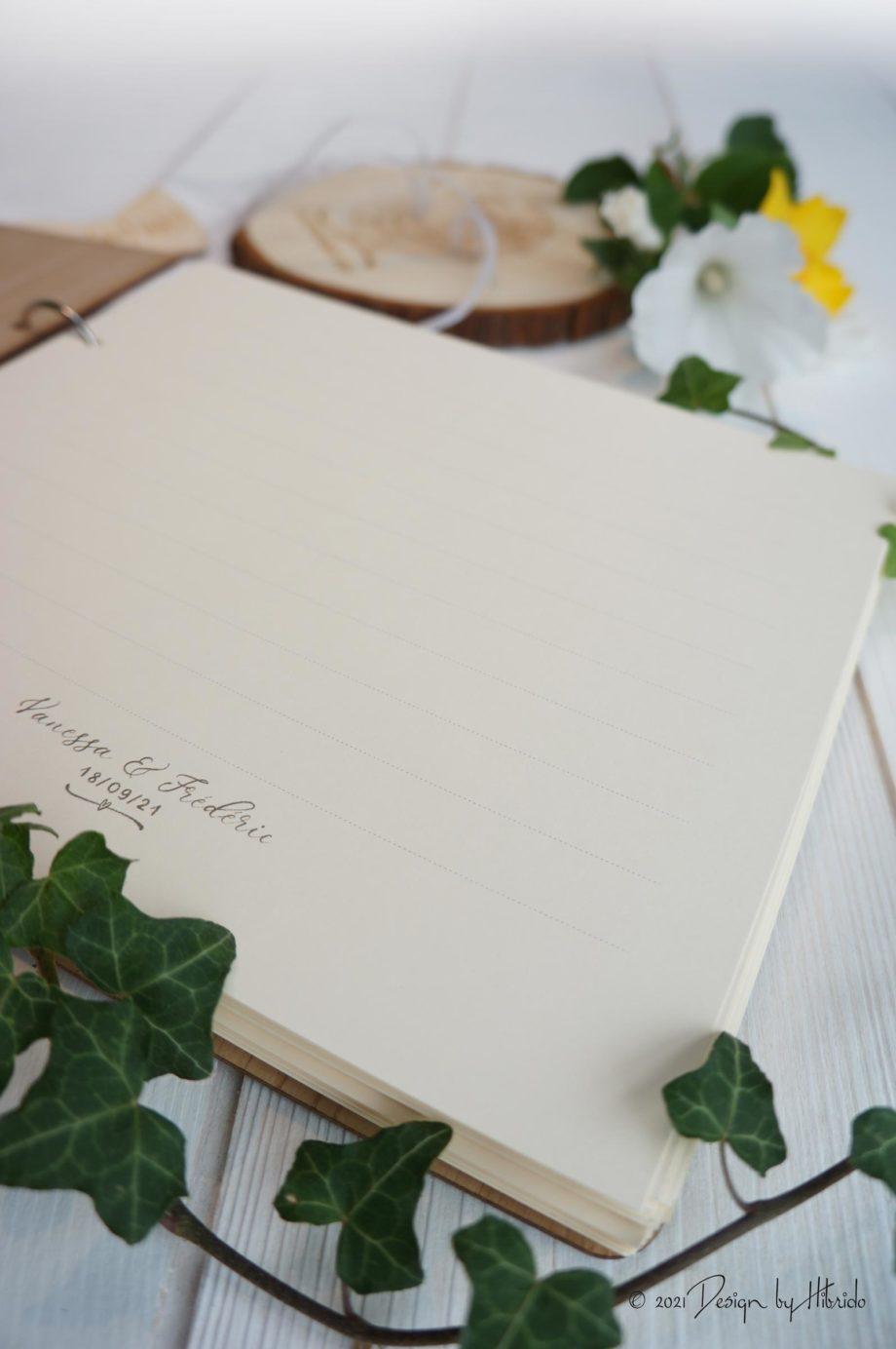 Livre d'or en bois pour mariage champêtre