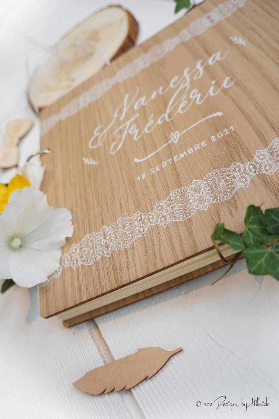 Nature et dentelle,livre d'or en bois,livre d'or en bois personnalisé