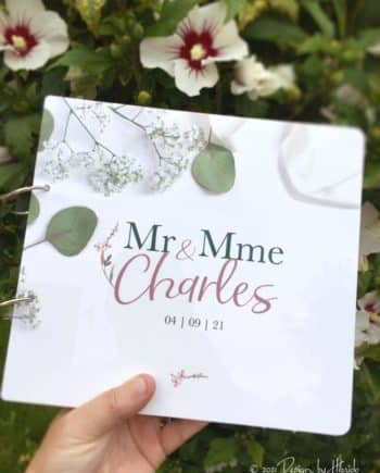 "Livre d'or en plexiglas blanc ""Charles"""