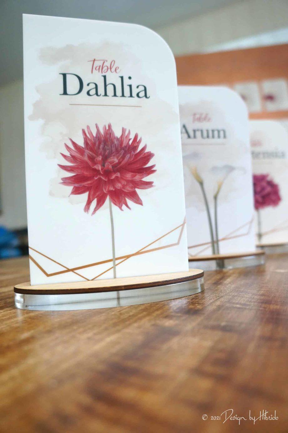 nom de table mariage fleur